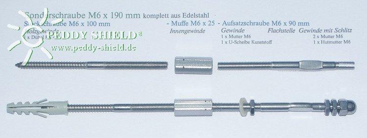 Doppelschraube M6x190 mm für Rankhilfen, 2er-Set