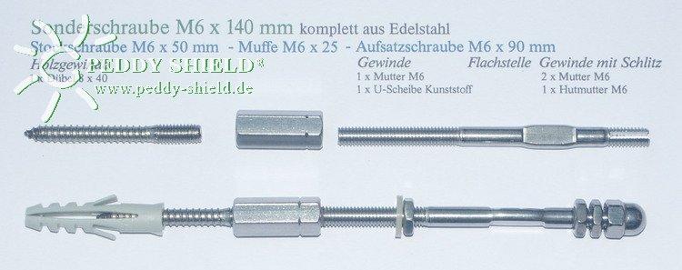 Doppelschraube M6x140 mm für Rankhilfen, 2er-Set