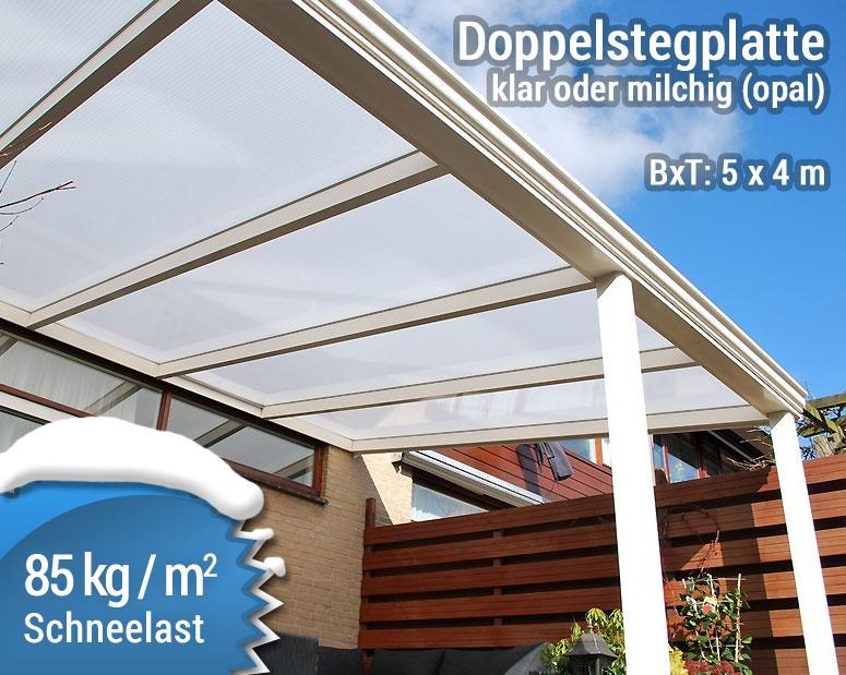 Terrassenüberdachung Aluminium Doppelstegplatte klar opal 5x4m
