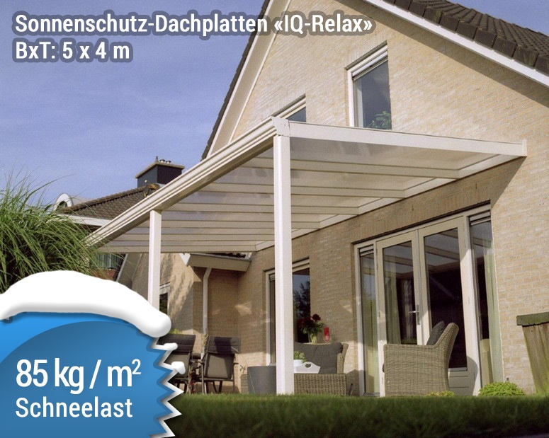 Terrassenüberdachung Aluminium Sonnenschutz Platte IQ Relax 5x4m