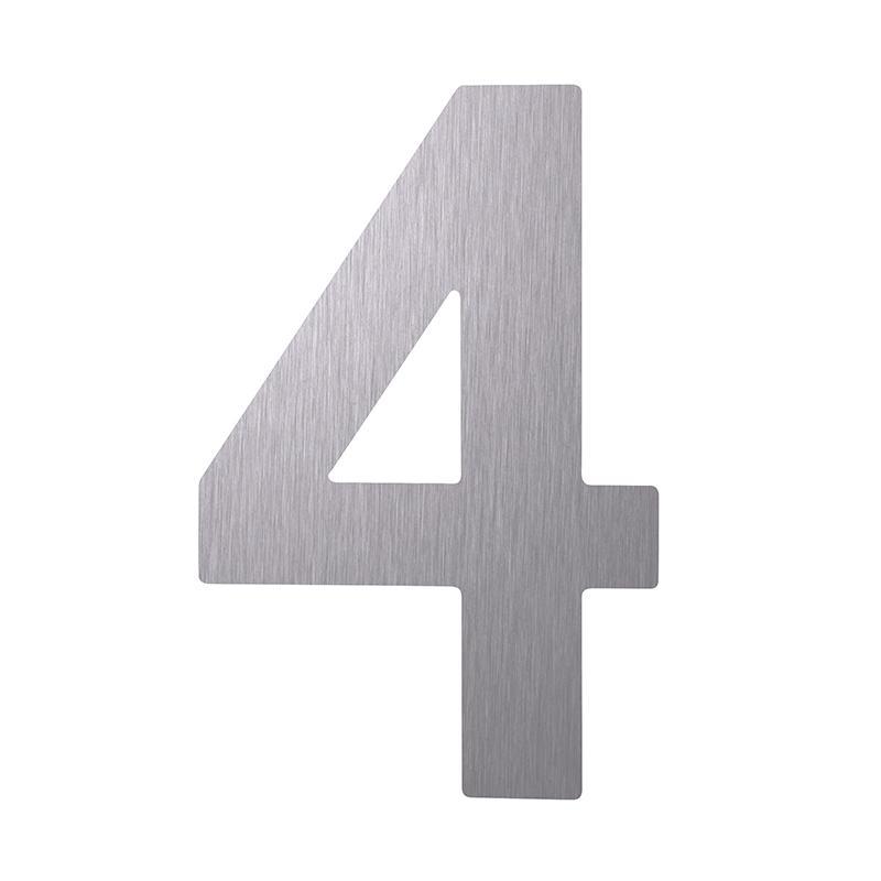 hausnummer ziffer 4 edelstahl v2a matt geb rstet h he 120 mm. Black Bedroom Furniture Sets. Home Design Ideas